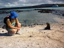Tanya chatting to the baby sea lion - Sombrero Chino